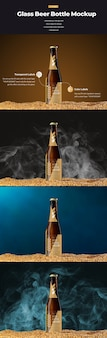 Mockups of glass beer bottle with wheat