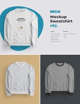 Mockups 절연 망 운동복. 디자인은 이미지 디자인 (스웨트 셔츠, 소매 및 라벨)을 커스터마이즈하고 모든 요소의 스웨트 셔츠에 색상을 지정하는 것이 쉽습니다.