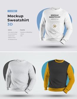 Mockups mens 3d sweatshirt. 디자인은 이미지 디자인 (스웨트 셔츠, 소매 및 라벨)을 커스터마이즈하고 모든 요소의 스웨트 셔츠에 색상을 지정하는 것이 쉽습니다.