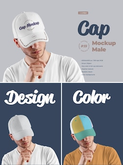 Mockups mens cap 디자인은 이미지 디자인 바이저, 모든 섹터 및 전면 바이저, 모든 요소 색상 지정, 헤더 텍스처를 쉽게 사용자 정의 할 수 있습니다.