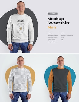 Mockups mens sweatshirt. design is easy in customizing images design (on sweatshirt, sleevs and label), color all elements sweatshirt