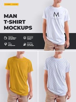 若い男のモックアップtシャツのデザイン。