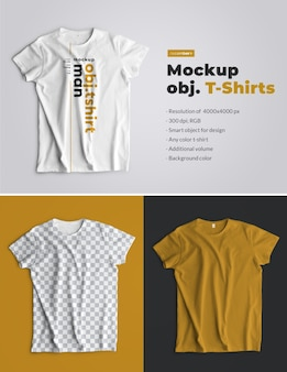Mockups t-shirts isolated. top view