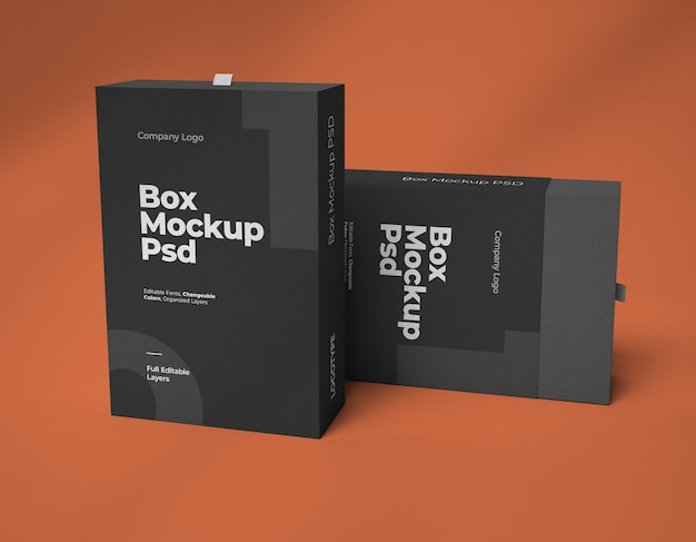 Mockups of two square slide boxes