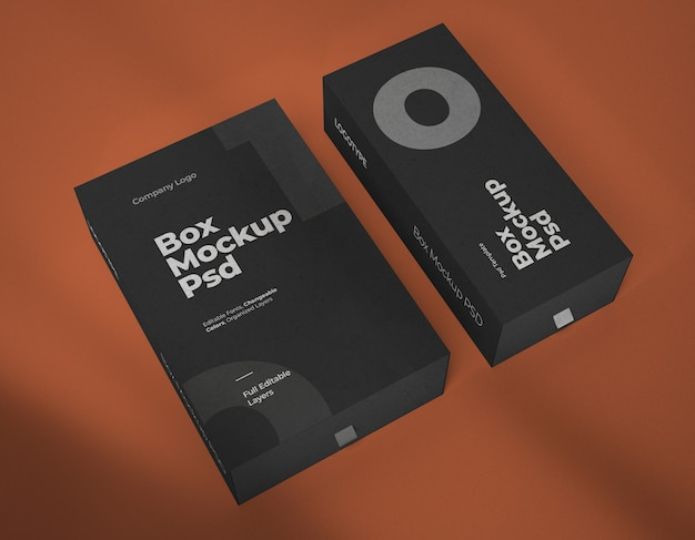 Mockups of two wide and narrow boxes