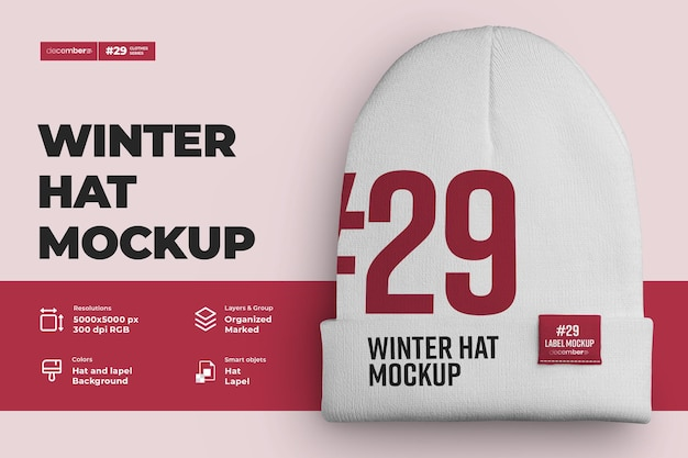 Mockups winter hat beanie with mid lapel. design is easy in customizing images design beanie (hat, lapel, label), color of all elements beanie, heather texture