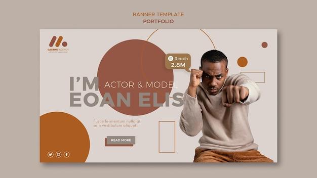 Modello di banner portfolio modello e attore
