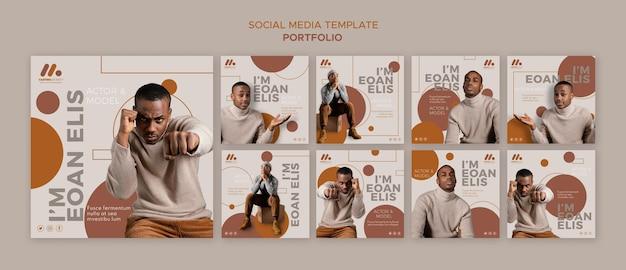 Post sui social media del portfolio di modelli e attori