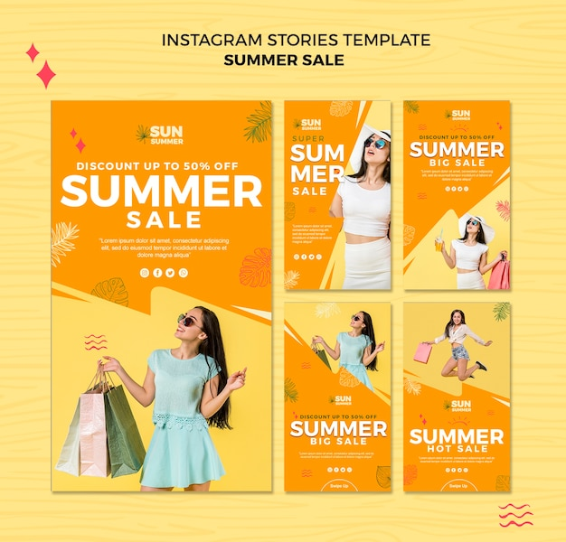 Model girl summer sale instagram stories template