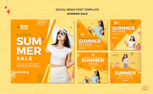 Posta di media sociali di vendita di estate della ragazza di modello