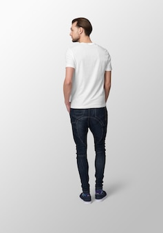 Model man with crew neck white t-shirt mockup, back view