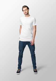 Model man with crew neck white t-shirt mockup, front view