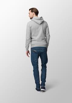 Model man with grey hoodie mockup, back view