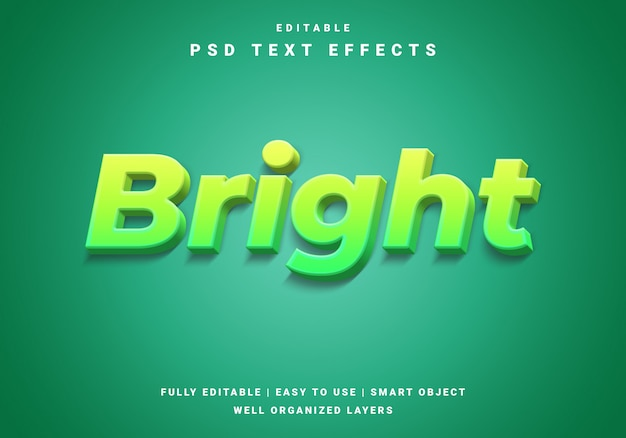 Modern 3d bright text effect