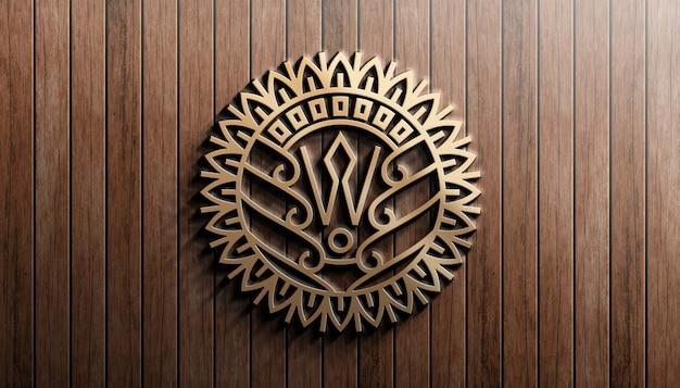 Modern 3d logo mockup on wooden wall Premium Psd
