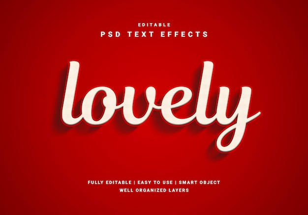Modern 3d lovely text effect