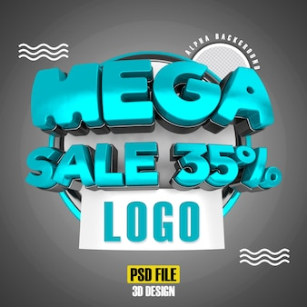 Modern 3d mega sale banner promotion 35 template