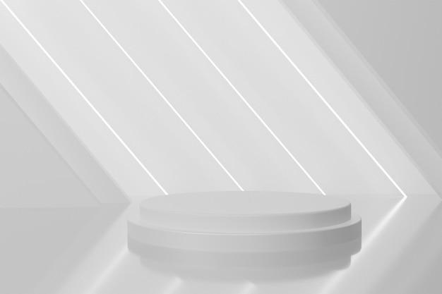 네온 불빛이 있는 현대적인 3d 연단