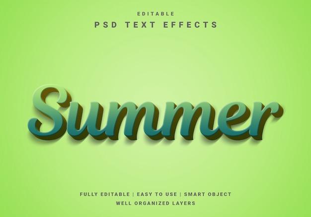 モダンな3 dリアルな夏のテキスト効果テンプレート