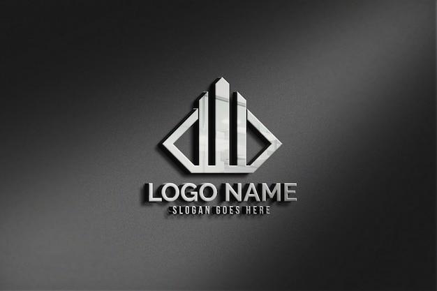 モダンな3dリアルな壁のロゴのモックアップ