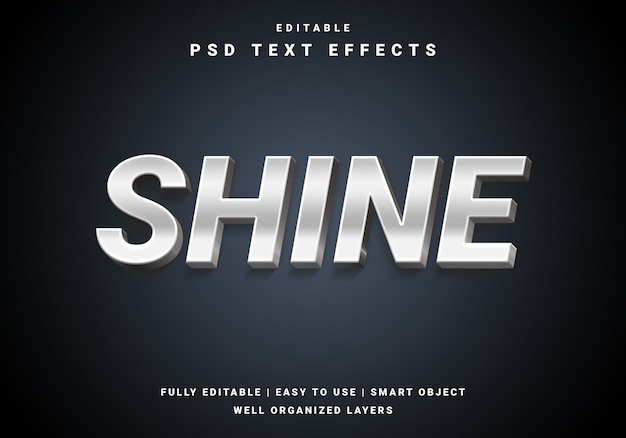 Modern 3d shine text effect