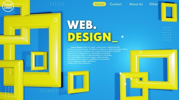 青と黄色の色でモダンな3dウェブページのデザインコンセプト
