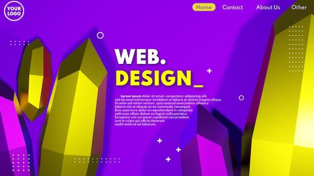 ダイヤモンド3dモデルとモダンな3dウェブページのデザインコンセプト