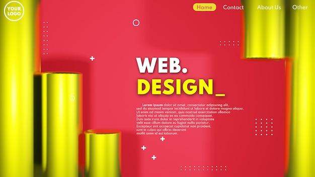 金の円筒形の3dモデルとモダンな3dウェブページのデザインコンセプト