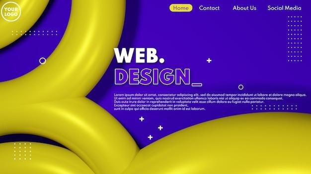 紫と黄色のモダンな3dウェブページのデザインコンセプト