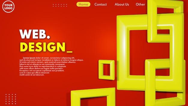 赤と黄色の色でモダンな3dウェブページのデザインコンセプト