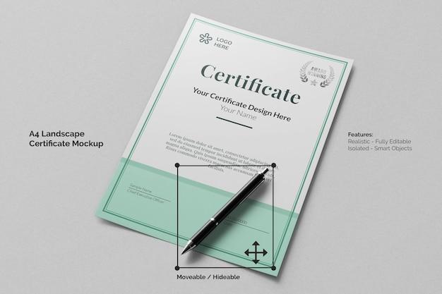 Сертификат современной ландшафтной компании формата а4, реалистичный бумажный макет с ручкой для подписи