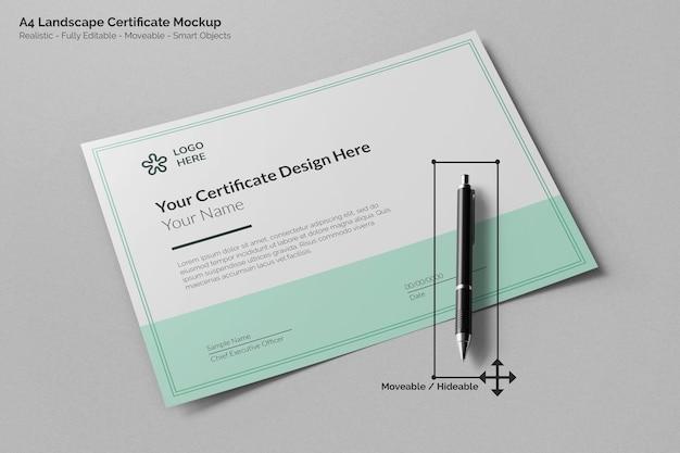 Современный ландшафтный реалистичный макет сертификата формата а4 с перспективным видом на перо для подписи