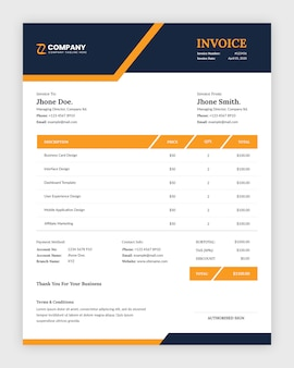 Modern abstract corporate business invoice template