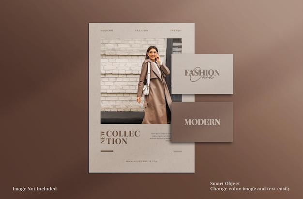 Современная и элегантная минималистичная брошюра канцелярских товаров, флаер и макет визитки с шаблоном макета