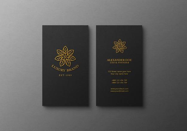 Современный и роскошный макет визиток с эффектом золотого тиснения