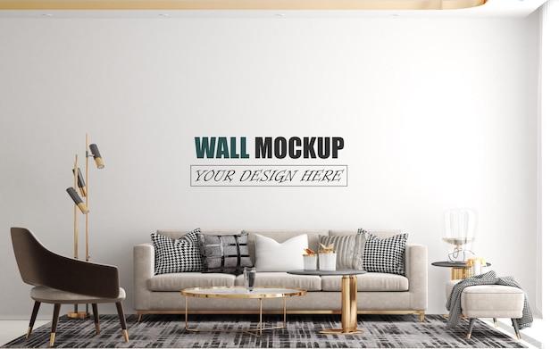 モダンで豪華なリビングルームの壁のモックアップ