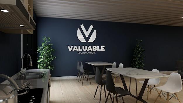 현대적이고 미니멀한 사무실 식료품 저장실 벽 로고 목업