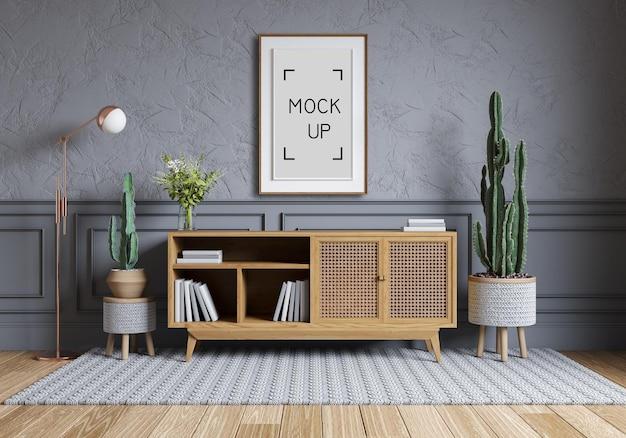 현대적이고 북유럽 스타일의 인테리어 디자인, 나무 캐비닛 및 쪽모이 세공 마루가있는 회색 벽에 나무 의자