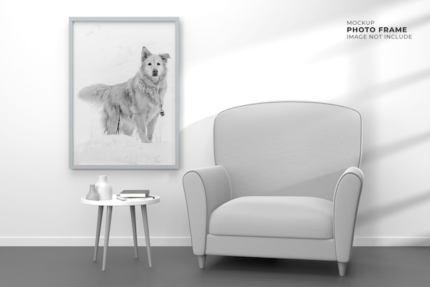 모형 포스터 프레임이있는 현대적이고 단순한 거실 디자인