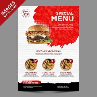 Современный и простой шаблон меню ресторана или кафе premium psd
