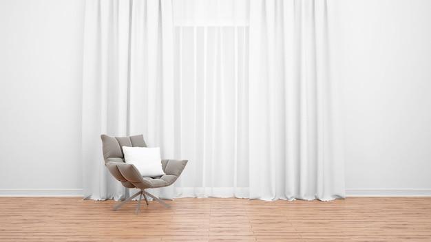 白いカーテンと大きな窓の横にあるモダンなアームチェア。木の床。最小限の概念としての空の部屋