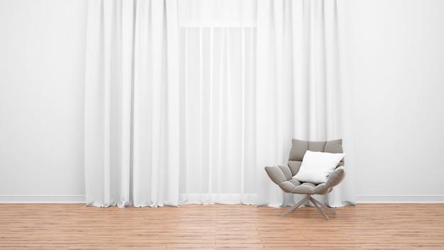 흰색 커튼으로 큰 창 옆에 현대 안락 의자. 나무 바닥. 최소한의 개념으로 빈 방