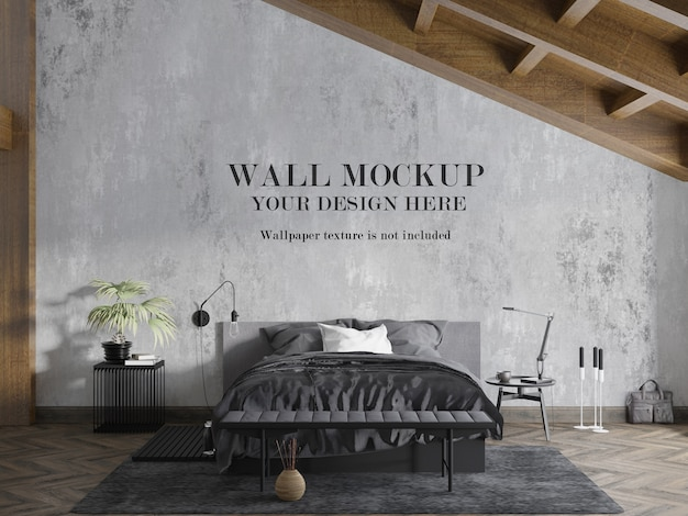 アクセサリー付きのモダンな屋根裏部屋の寝室の壁のモックアップ