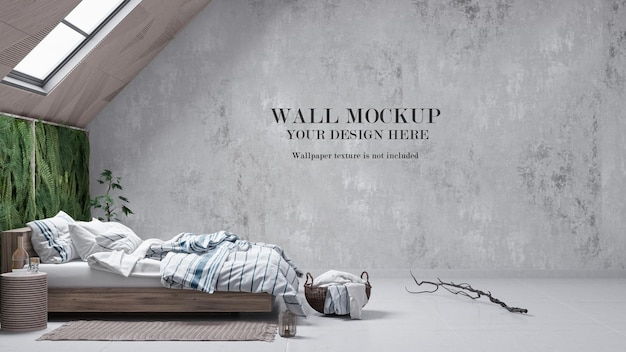 Modern attic bedroom wall mockup