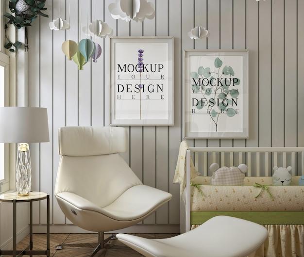 モックアップフレームの写真付きのモダンな赤ちゃんの寝室