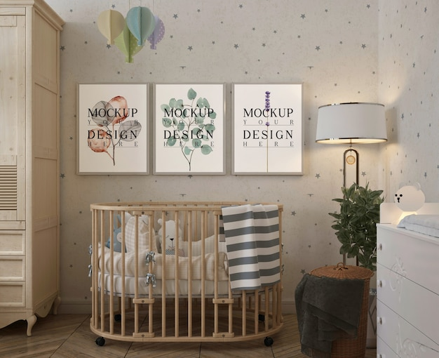 Modern baby's bedroom with mockup frame
