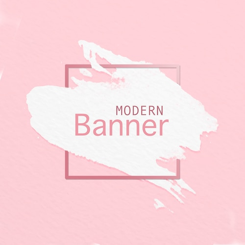 Modern banner of paint brush on pink background