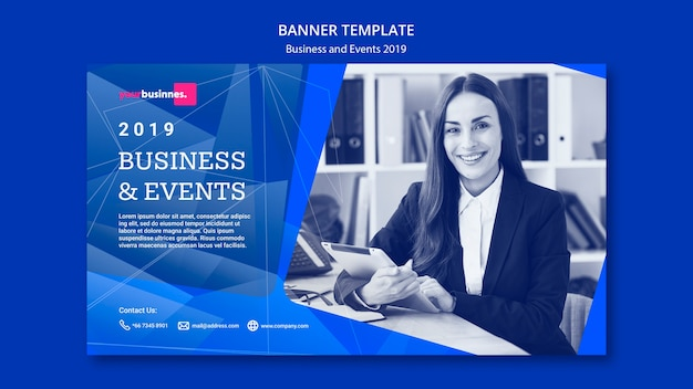Modern banner template with business woman