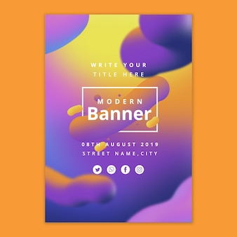 Modern banner template with fluid background