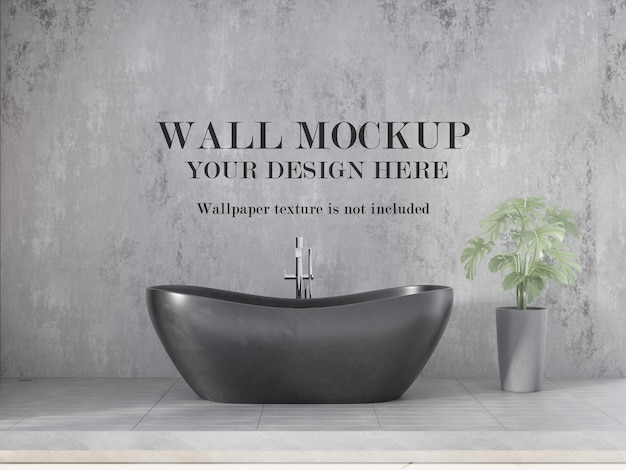 Modern bathroom wall mockup with minimalist furniture